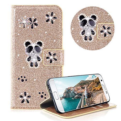 Glitzer Strass Brieftasche für Galaxy S7 Edge,Gold Leder Handyhülle für Galaxy S7 Edge,Moiky Luxus 3D Magnetisch Kristall Niedlich Panda Blumen Diamant Hülle mit Kartenfächer Ständer