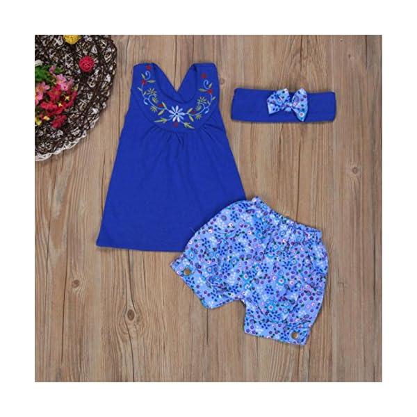Smartlady Verano Bebe NiñA Camiseta Floral del Chaleco + Pantalones Cortos + Diadema 4
