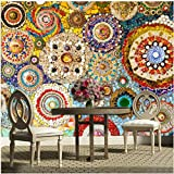 BIZHIGE Große Wandbild Mosaik Fliesen Ziegel Muster American Retro Abstrakte 3D Wallpaper Für Wohnzimmer TV Hintergrund 3D Wall Paper-300 × 200 cm