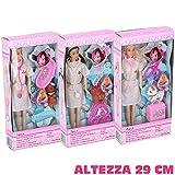 Bakaji Bambola Infermiera Grande Altezza 29 CM Con 5 Accessori Vari Modelli Per Bambini