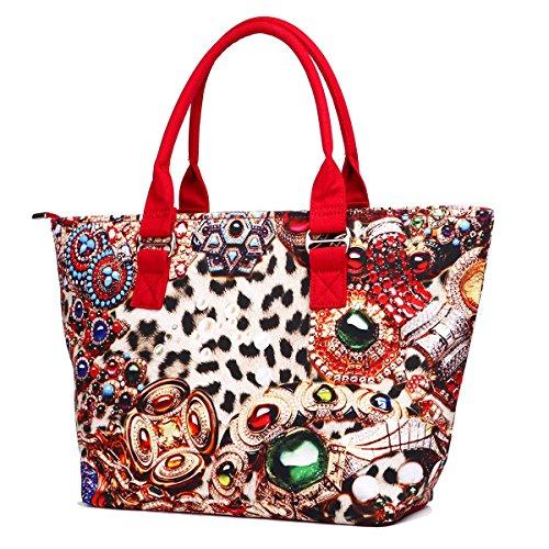 Eshow Borse a tracolla da donna di tela a mano Multifunzione per viaggio sacchetto borsa shopper bag shopping trekking rosso