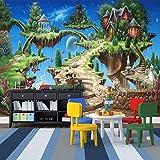 Foto Wallpaper 3D Stereo Cartoon Fiaba Castello Murale Camera da letto per bambini Soggiorno Parco di divertimenti Sfondo Pittura murale Affresco, 200 × 150 cm