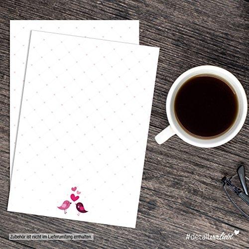 easydruck24de 1 Set Briefpapier Verliebte Vögel I DV_019 I Din A4 I 50 Blatt I Motiv-Papier Rosa Pink Frühling Einladung Geburtstag Valentinstag Liebe Ohne Umschlag