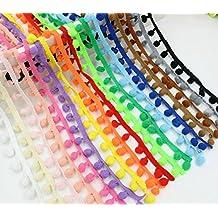 OPEN BUY 34 m de cinta algodon madroños pasamaneria bolas pompom de 17 colores para manualidades