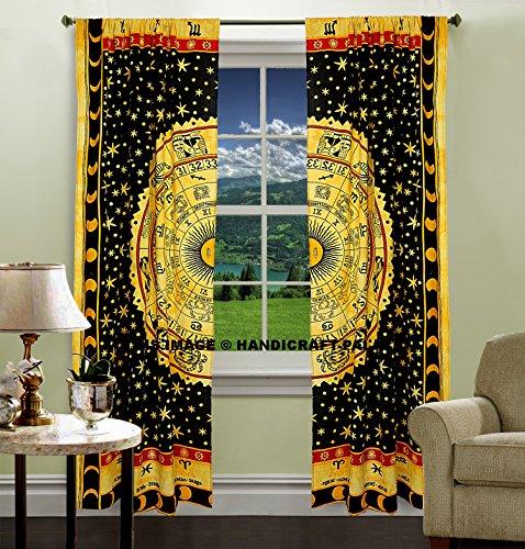 indischen Astrologie Mandala Tüll Voile Baumwolle Tür Fenster Vorhang Tuch Sheer Raumteiler Schlafzimmer Vorhänge, Tapisserie Drapes, Fenster...
