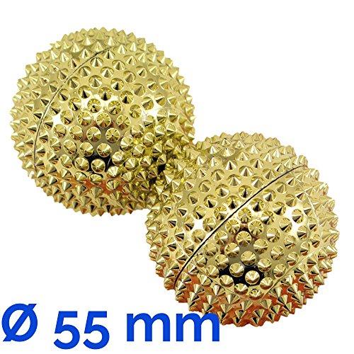 AFH-Webshop 631504-01 Magnet Akupunktur Massage Kugeln, circa 55 mm Durchmesser, gold, 2er Set