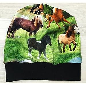 Beanie Mütze mit Ponys, Kopfumfang 50-55cm