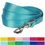 Blueberry Pet 1cm x 150cm X-Small Classique Solide Turquoise Nylon Laisse pour chien. Collier et harnais assortis vendus séparément