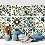 wall art (Confezione 54 Pezzi) adesivi per piastrelle formato 10x10 cm - Made in Italy - PS00079 Adesivi in pvc per piastrelle per bagno e cucina Stickers design - Positano