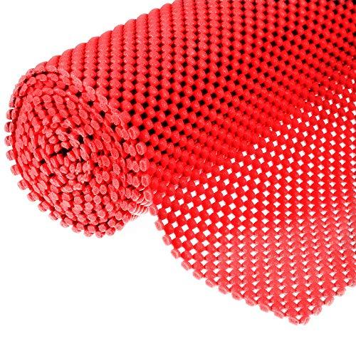 Muswanna Mehrzweck-Anti-Rutsch-Matte, Gittermuster, PVC, Rutschfest, Rutschfest, für Zuhause und Büro, Auto, 200 x 50 x 0,3 cm rot