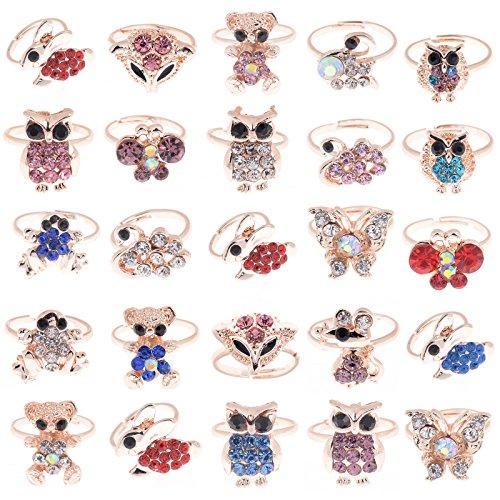 Yantu Children Kids Boys Girls 10pcs Cute Crystal Adjustable Rings Jewelry