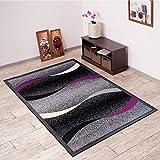 Alfombra De Salón Moderna – Color Negro Púrpura De Diseño Olas – Suave – Fácil De Limpiar – Top Precio – Diferentes Dimensiones S-XXXL 200 x 300 cm