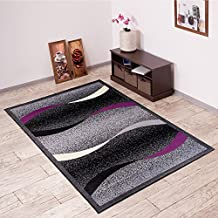 Alfombra De Salón Moderna – Color Negro Púrpura De Diseño Olas – Suave – Fácil De Limpiar – Top Precio – Diferentes Dimensiones S-XXXL 180 x 250 cm