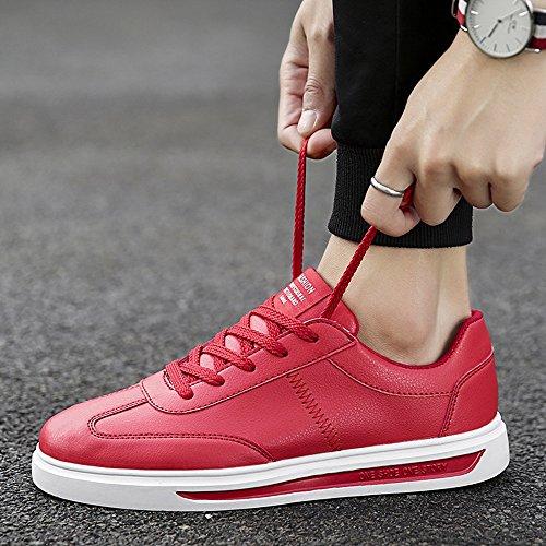 XIAOLIN Scarpe Da Uomo Autunno Bianco Scarpe Piatte Studente Piccole Scarpe Bianche ( Colore : Nero , dimensioni : EU39/UK6.5/CN40 ) Rosso