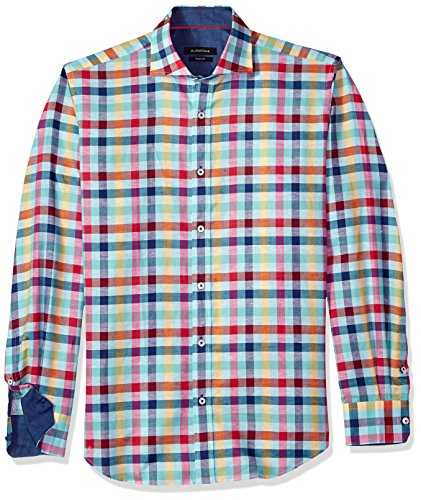 Bugatchi Herren Fitted Long Sleeve Madras Check Sports Shirt Button Down Hemd, Paradise, Groß -