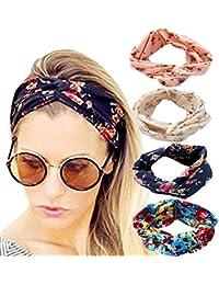 DRESHOW 4 Pack Headbands Vintage élastique imprimé tête enveloppe extensible humidité Hairband Twisted Cute Hair Accessoires