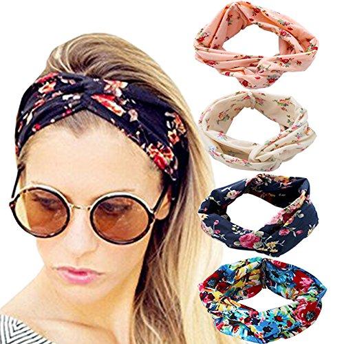 DRESHOW 4 Stück Damen Elastische Blume Gedruckt Stirnbänder, 1950 Archaistisch Frauen Baumwolle Gestrickte Verdrehte Weiche Turban-Kopf-Verpackungs