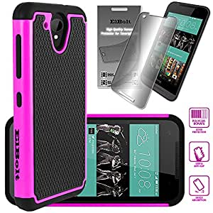 HTC Desire 520 Cyber Defender Case - Hot Pink by ElBolt with Free HD Screen Protector