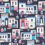 Dunkelgraues Baumwollgewebe mit bunten Häusern