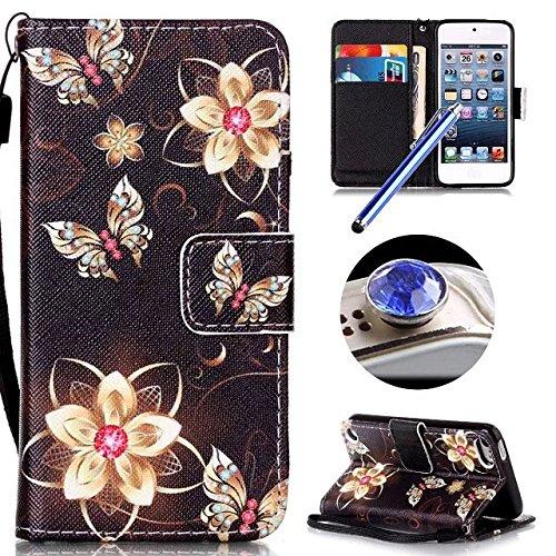 Etsue Handytasche für iPhone 7 (4.7 Zoll) 2016 lila, Brieftasche Hülle für iPhone 7 (4.7 Zoll) 2016 [Mädchen Schmetterling] Muster Lederhülle Handyhülle Einzigartig Flip Hülle Leder Schutzhülle Vintag Golden Blume,Butterfly