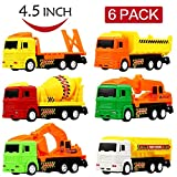 #9: Clastik Construction Vehicle Set 6 pcs - Dumper + JCB + Cement Mixer + Transport Truck - Unbreakable ABS Plastic Friction Powered Kids Automobile Toy Set - Assured Quality (6 in 1)