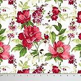Soimoi 56 Pulgadas De Ancho De Algodón De Material Decorativo De Costura De La Tela 60 GSM Impreso Floral Por El Metro - Blanco