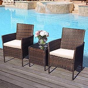 Merax Garten Möbel Poly Rattan Outdoor-Möbel Garten Set Balkon Set Anti-Splash Lounge Set mit Kissen & Gehärtetem Glas Tischplatte für Veranda, Pool Gartenset (2 Lounge Ecksofa 1 Tisch, Braun)