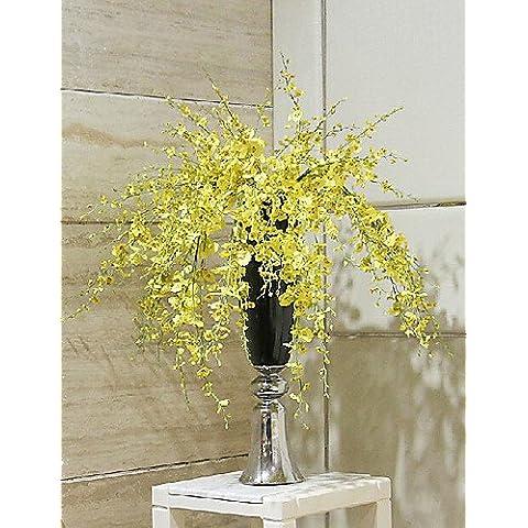flores artificiales, múltiples ramas oncidium tela dama bailando , yellow