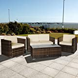 Oseasons OSDYOXFSET-CS-FLEX 4 Seater Oxford Flex Rattan Lounge Set - Cappuccino