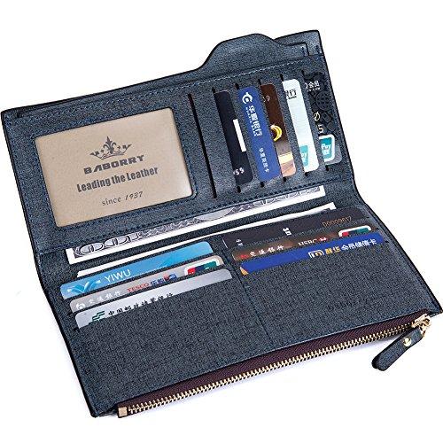 Baborry-Baborry Männer lang Brieftasche Mit Reißverschluss Münztasche Movable ID Karte Halter Gold Blau