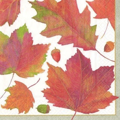Papier Servietten Fall Party Ideen Fall Hochzeit Thanksgiving Dinner-Servietten AUTUMN LEAVES Traditionell Pack of 40 mehrfarbig - Caspari Dinner Servietten