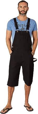 Wash Clothing Company Mens Dungaree Shorts Black Denim Bib Overall Fashion Shorts CHETBLACK Men's Dungarees