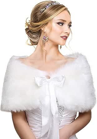 EQLEF Scialli di Lana, Bianco Faux Fur dello Scialle di Shrug Bolero Capo Lady Regalo
