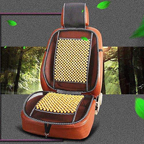 Hermosauknight massaggio universale perle di legno coprisedile per auto cuscino di raffreddamento estivo mesh mat-beige