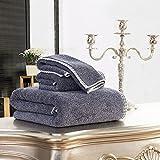 JUNHONGZHANG 3 Stück 100% Baumwolle Familie Badezimmer Low-Key Luxus Badewanne Setzen Hohe Weich Und Hohe Wasseraufnahme Dekorative Geschenke, Schwarz