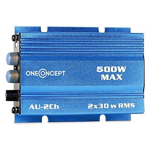 oneConcept XA-A2-BL • Car HiFi Verstärker • 2-Kanal Auto-Endstufe • Car Amplifier • 2 x 30 Watt RMS-Leistung • 500 Watt Peak-Leistung • Hoch- und Tiefpass-Filter • Frequenzgang: 40 Hz bis 20 kHz • brückbar • 2/1-Kanal-Betrieb • Metal-Gehäuse • ultrakompakt • blau