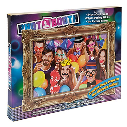 Photo Booth 24 piece Selfie Posing Props & Large Picture Frame Party Accessory (Photo Frame-prop Booth)