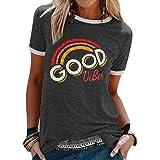 FEMLE Femmes Good Vibes Col Rond Imprimé Lettre T-Shirt Motif Arc-en-Ciel Mode Hauts