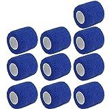 E Support 10Stk Blau Rollen Kohesive Selbsthaftende Bandagen Fingerpflaster Fingerverband Wundverband selbstklebend wasserfest 4.5mx5cm