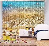 Wapel Moderne Gardinen Cool Beach Shell Wave Vorhänge Für Wohnzimmer Schlafzimmer Blackout 3D Kinder- Vorhang Persönlichkeit Vorhänge 240X260CM
