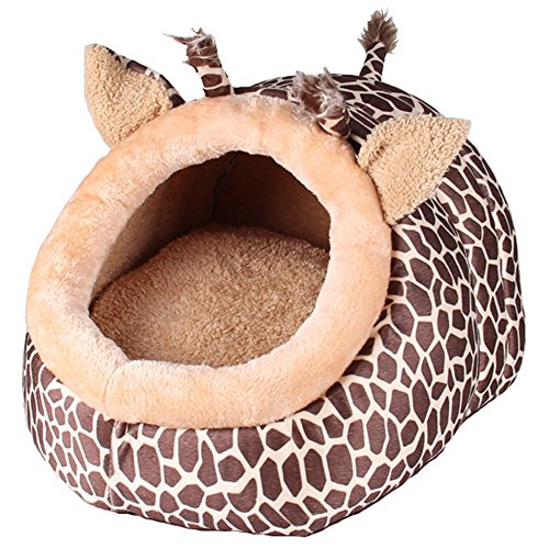 MAGIC UNION Hundehöhle Hundehöhle Tierbett Hundebett Hundesofa Korbmit Schlafplätze Kissen für Pet Hund Katze Haustier in Tiere Braun Giraffe und 3 Größen(S/M/L) wählbar