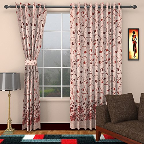 Reliable Yarn 2 Piece Polyester Door Curtain - 7ft, Multicolor