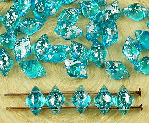60pcs Kristall Aquamarin Blau Türkis Klar Picasso Terrakotta-Silber Getupft Matubo GemDuo Rhombus Diamant-Zwei 2-Loch-Tschechische Glas-Perlen G - Kristall Tschechische Gläser