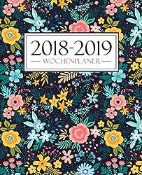 Wochenplaner 2018-2019: 19 X 23 Cm : Regenbogenfarbenes Blumenmuster Aus Wasserfarben (Wochenkalender, Familienplaner, Wochenplaner, Buchkalender, Tischkalender, Terminplaner & Tageskalender)