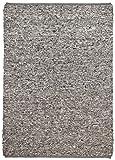 Theko Webteppich handgewebt aus 100% Reiner Schurwolle, Diverse Farben & Melierungen, Größe:90 x 160 cm, Farbe:Grau