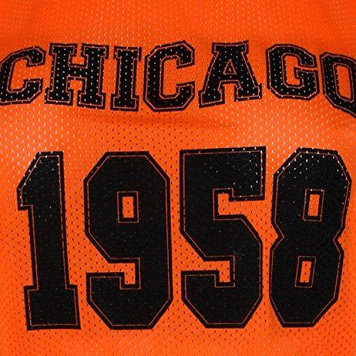 Chocolate Pickle ® Damen Air Tech Varsity Hoch Niedrig Crop Oberteile 36-42 Chicago 1958 Neon Orange