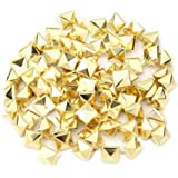 Heall 100 PC-Pyramide-Bolzen-Quadrat-Bolzen-Niet-DIY Spike Punk Spikes Spots für DIY Leder 10mm Gold-