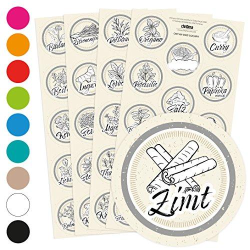 Ein Glas Regal (56 graue Gewürzetiketten / Gewürzaufkleber - individuelle Abbildungen der Gewürze - für Regale, Gläser oder Dosen - beschriftet, selbstklebend, 10 verschiedene Farben, Ø 4cm Kreis rund, Farbe: GRAU)