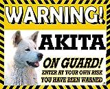 Akita (bianco) colorata giallo attenzione cane metal Sign 6