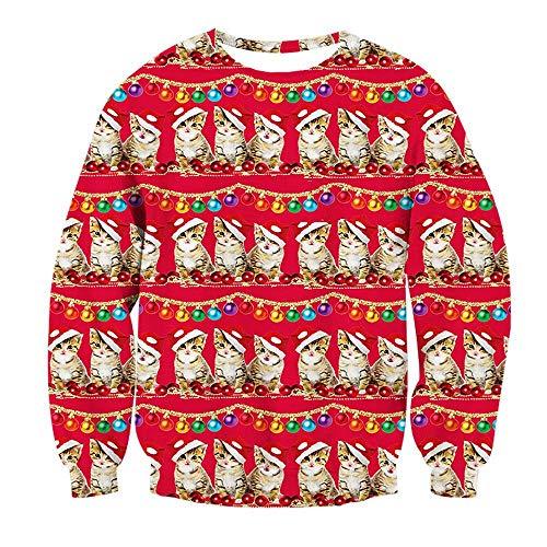 Bfustyle Unisex Jungen M?dchen 3D Weihnachtspullover Elf Katze Gedruckt Sweatshirt Sweater Tops Fleece Pl¨¹sch Futter Rot L Boys Graphic Fleece
